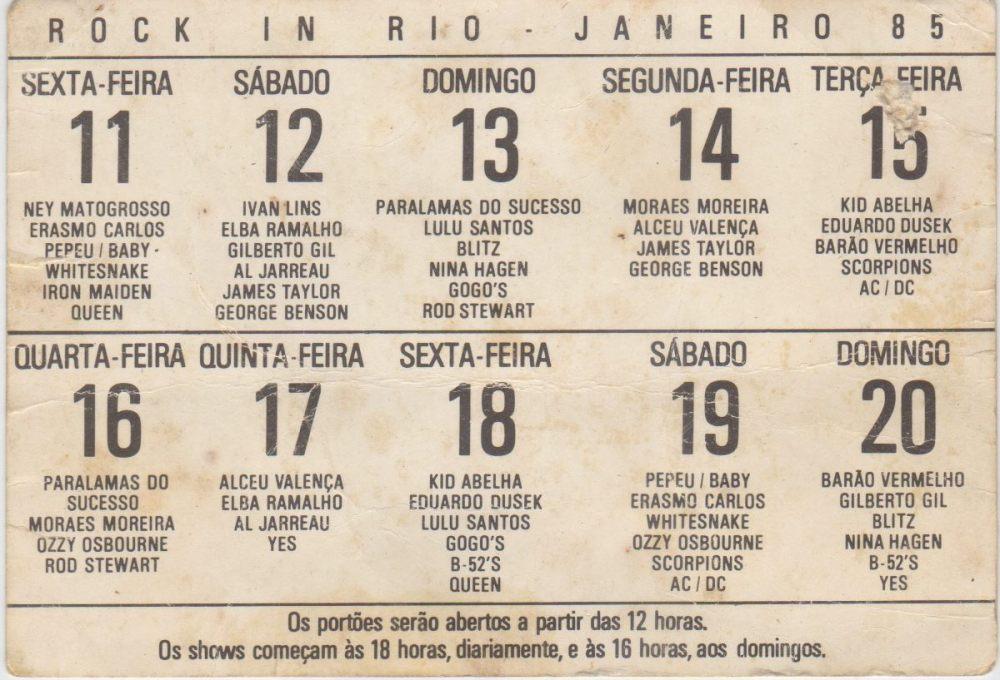 anúncio do line up do Rock in Rio 1985